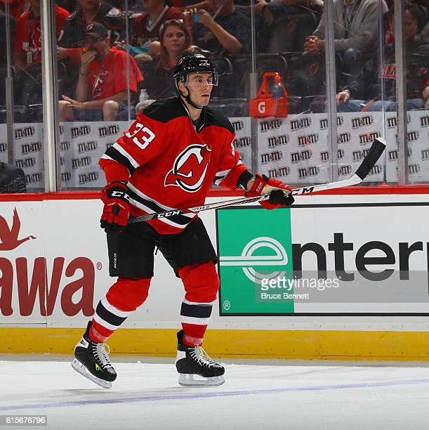 Yohann Auvitu of the New Jersey Devils skates against the Anaheim Ducks at the Prudential Center on October 18 2016 in Newark New Jersey