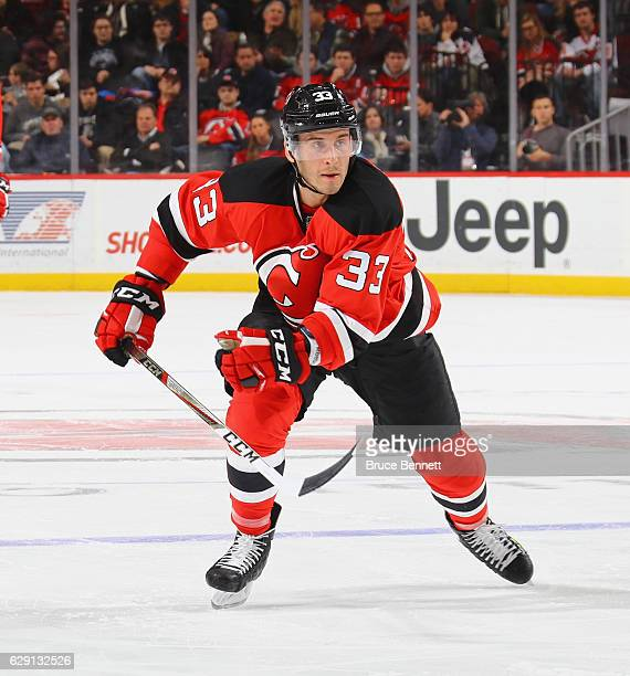Yohann Auvitu of the New Jersey Devils skates against the St Louis Blues at the Prudential Center on December 9 2016 in Newark New Jersey