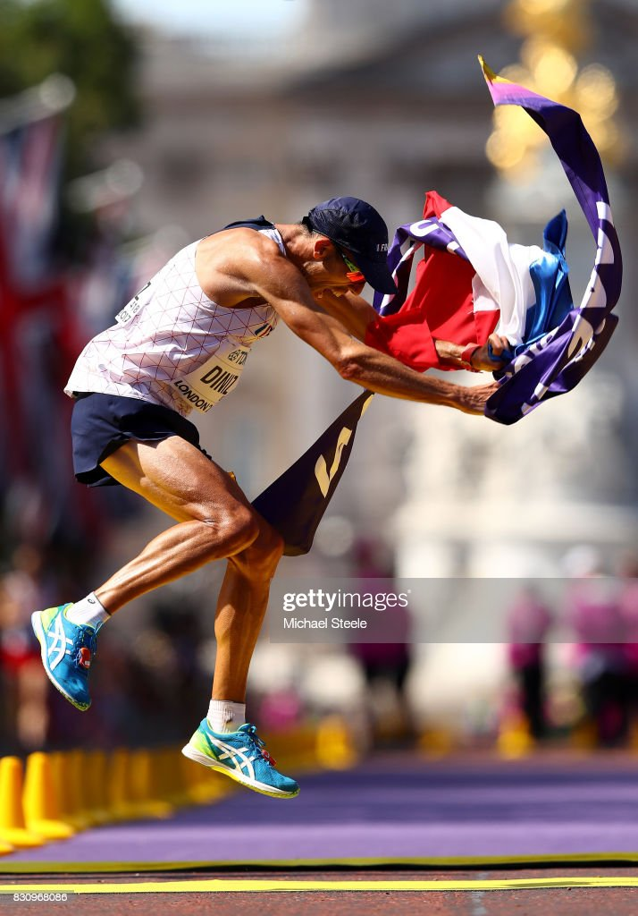 Yohann Diniz of France celebrates after winning the Men's 50km Race Walk final during day ten of the 16th IAAF World Athletics Championships London 2017 at The Mall on August 13, 2017 in London, United Kingdom.