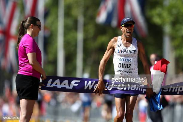 Yohann Diniz of France celebrates after winning the Men's 50km Race Walk final during day ten of the 16th IAAF World Athletics Championships London...