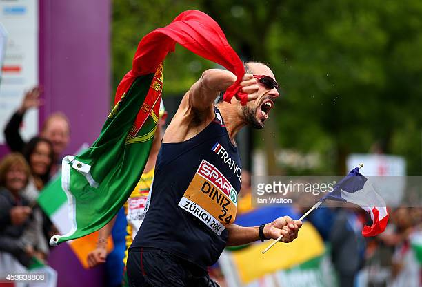 Yohann Diniz of France celebrates winning gold in the Men's 50km Race Walk during day four of the 22nd European Athletics Championships at the Race...