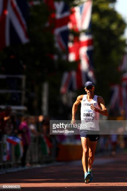 Yohann Diniz of France competes in the Men's 50km Race Walk final during day ten of the 16th IAAF World Athletics Championships London 2017 at The...
