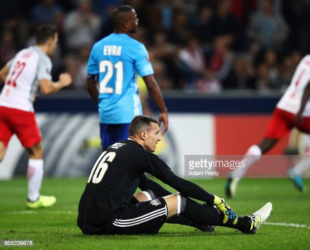 Yohann Pele of Marseille is dejected during the UEFA Europa League group I match between RB Salzburg and Olympique Marseille at Red Bull Arena on...