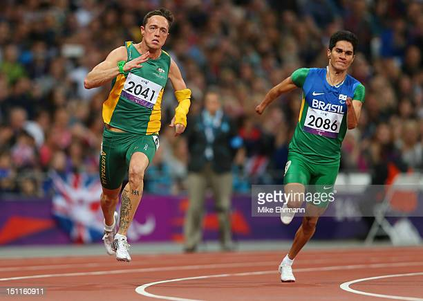Yohansson Nascimento of Brazil and Simon Patmore of Australia compete in the Men's 200m T46 Final to win gold on day 4 of the London 2012 Paralympic...