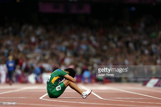 Yohansson Nascimento shows his emotions after pulling up injured in the Men's 100m T46 Final on day 8 of the London 2012 Paralympic Games at Olympic...