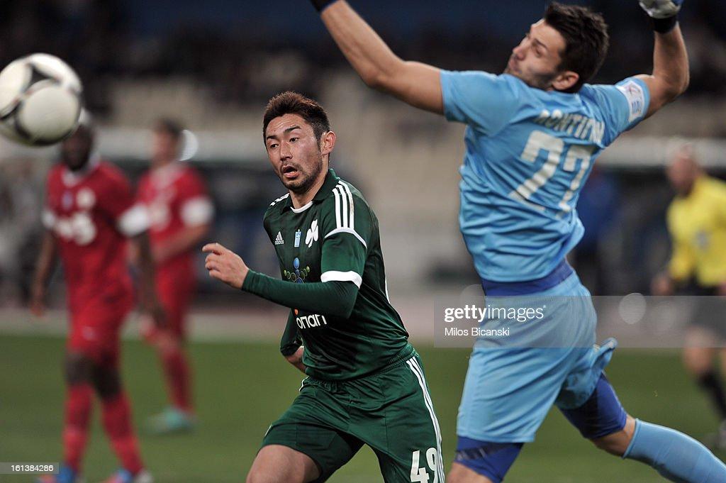 Yohei Kajiyama of Panathinaikos FC competes for the ball during the Superleague match between Panathinaikos FC and Skoda Xanthi at OAKA Stadion on February 10, 2013 in Athens,Greece.