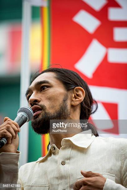 Yohei Miyake, Japanese musician and independent candidate for July's House of Councillors elections, delivers a campaign speech outside Shinjuku...