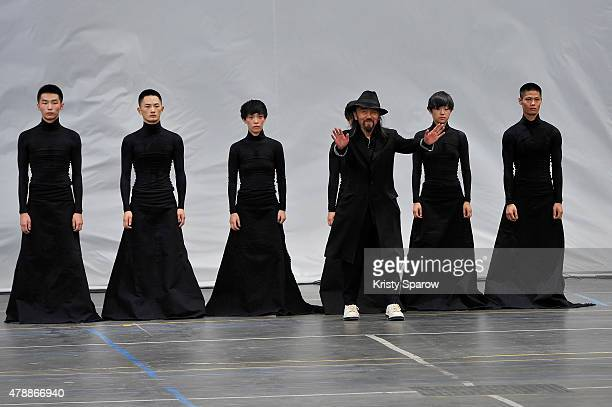 Yohji Yamamoto acknowledges the audience during the Y3 Menswear Spring/Summer 2016 show as part of Paris Fashion Week on June 28, 2015 in Paris,...