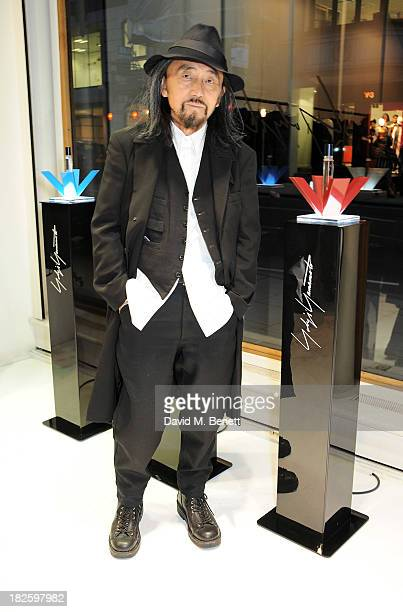 Yohji Yamamoto attends the launch of the new Yohji Yamamoto parfums at the Yohji Yamamoto Conduit Street store on October 1 2013 in London England