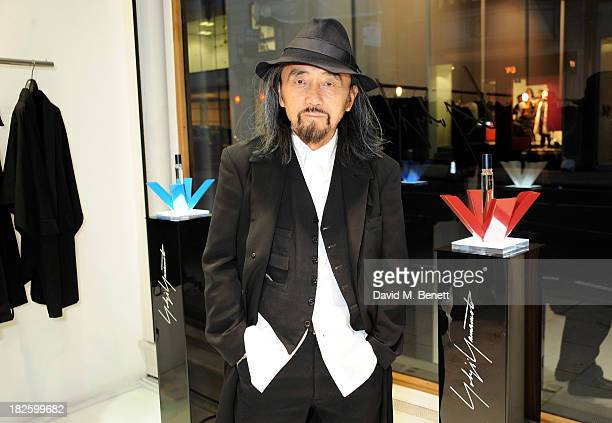 Yohji Yamamoto attends the launch of the new Yohji Yamamoto parfums at the Yohji Yamamoto Conduit Street store on October 1, 2013 in London, England.