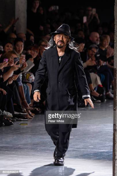 Yohji Yamamoto walks the runway at the end of his show as part of the Paris Fashion Week Womenswear Spring/Summer 2018 on September 29 2017 in Paris...