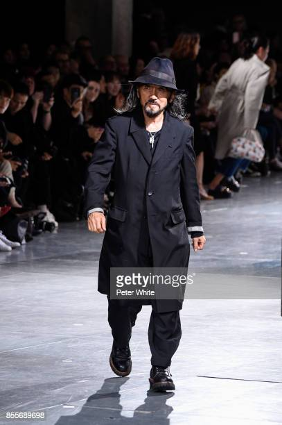 Yohji Yamamoto walks the runway at the end of his show as part of the Paris Fashion Week Womenswear Spring/Summer 2018 on September 29, 2017 in...
