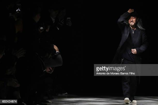 Yohji Yamamoto walks the runway during the Y3 Haute Couture Spring Summer 2017 show as part of Paris Fashion Week on January 22, 2017 in Paris,...