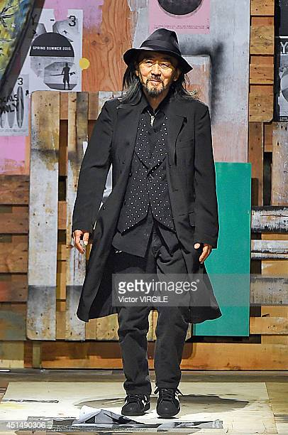 Yohji Yamamoto walks the runway during the Y-3 Spring/Summer 2015 Show as part of Paris Fashion Week Menswear S/S 2015 at Couvent des Cordeliers on...