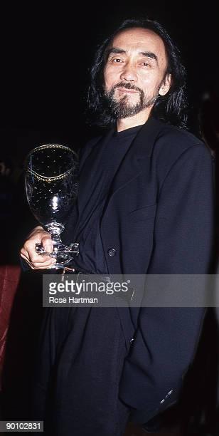 Yohji Yamamoto with his Fashion Award, NY Public Library, New York - 90's