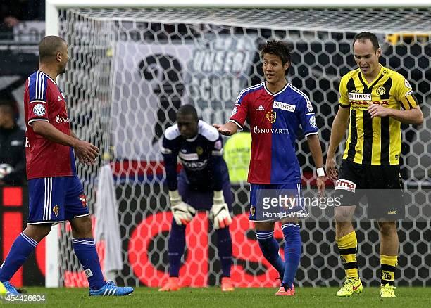 Yoichiro Kakitani of Basel celebrates after scoring his team's third goal during the Raiffeisen Super League match between FC Basel and BSC Young...