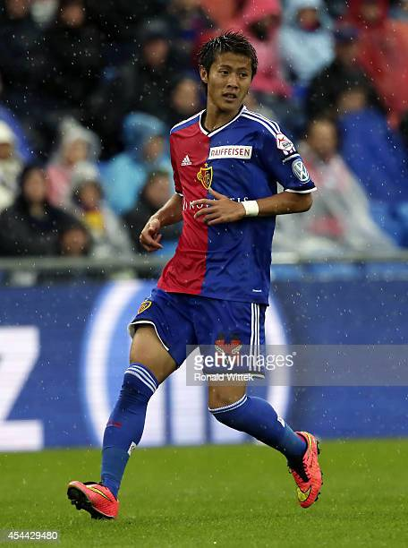 Yoichiro Kakitani of Basel runs during the Raiffeisen Super League match between FC Basel and BSC Young Boys Bern at St.Jakob-Park on August 31, 2014...