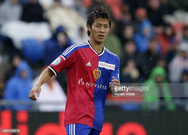 Yoichiro Kakitani of Basel runs during the Raiffeisen Super League match between FC Basel and BSC Young Boys Bern at StJakobPark on August 31 2014 in...