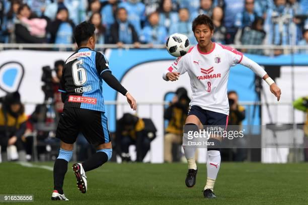 Yoichiro Kakitani of Cerezo Osaka in action during the Xerox Super Cup match between Kawasaki Frontale and Cerezo Osaka at the Saitama Stadium on...