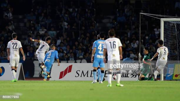 Yoichiro Kakitani of Cerezo Osaka scores his side's first goal during the JLeague J1 match between Kawasaki Frontale and Cerezo Osaka at Todoroki...