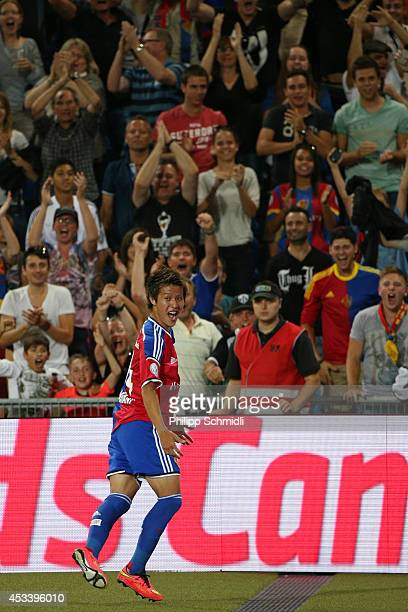 Yoichiro Kakitani of FC Basel celebrates his goal during the Raiffeisen Super League match between FC Basel and FC Zurich at St JakobPark on August 9...