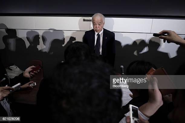 Yoichiro Nomura chief financial officer of Takata Corp speaks to members of the media after a news conference at the Tokyo Stock Exchange in Tokyo...