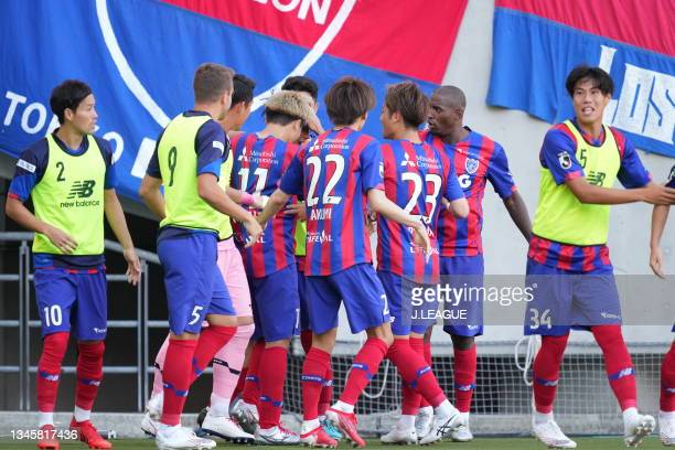 Yojiro TAKAHAGI of FC Tokyo celebrates scoring his side's second goal with his team mates during the J.League Levain Cup Semi Final second leg match...