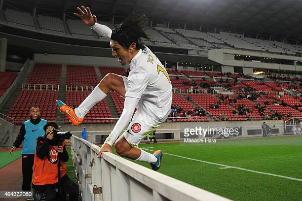 Yojiro Takahagi of Western Sydney Wanderers celebrates the second goal during the AFC Champions League Group H match between Kashima Antlers and...
