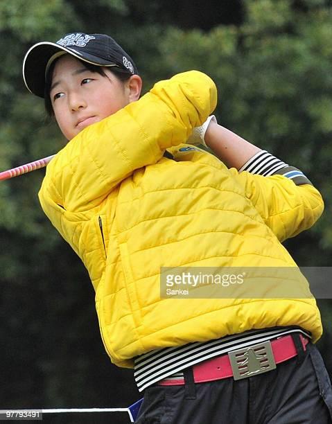 Yoko Ishikawa, young sister of golfer Ryo Ishikawa hits a tee shot after the practice round of T Point Ladies Golf Tournament at Kagoshima Takamaki...