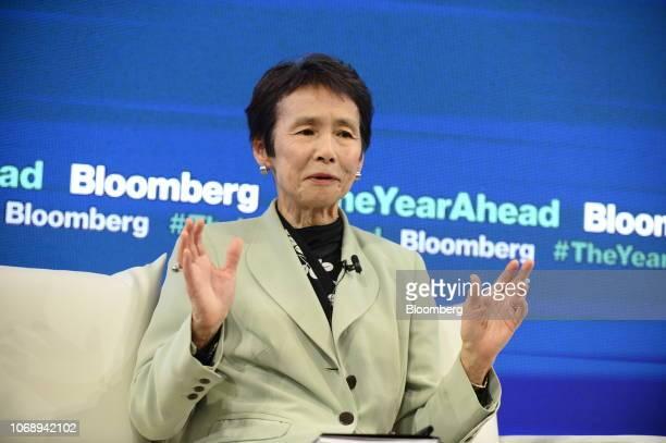 Yoko Ishikura professor at Hitotsubashi University speaks during the Bloomberg Year Ahead summit in Tokyo Japan on Thursday Dec 6 2018 The summit...