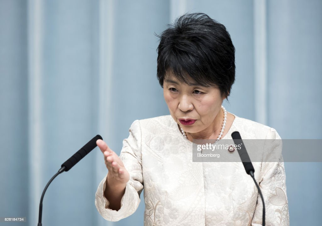 Yoko Kamikawa, newly-appointed justice minister of Japan, speaks during a news conference at the Prime Minister's official residence in Tokyo, Japan, on Thursday, Aug. 3, 2017. Japanese Prime Minister Shinzo Abe reshuffled his ministers and party officials after a slump in popularity and a humiliating local election defeat. Photographer: Tomohiro Ohsumi/Bloomberg via Getty Images