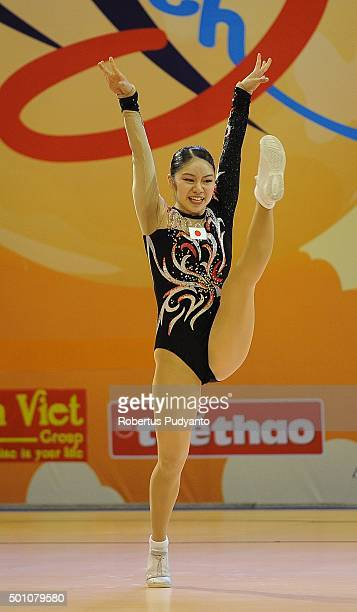 Yoko Kishiro of Japan competes in QualificationSenior Individual Women during the 5th Asian Aerobic Gymnastics Championships at Nguyen Du Culture and...
