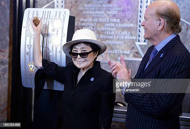 Yoko Ono and Bob Wright attend World Autism Awareness Day Celebration at The Empire State Building on April 2 2013 in New York City