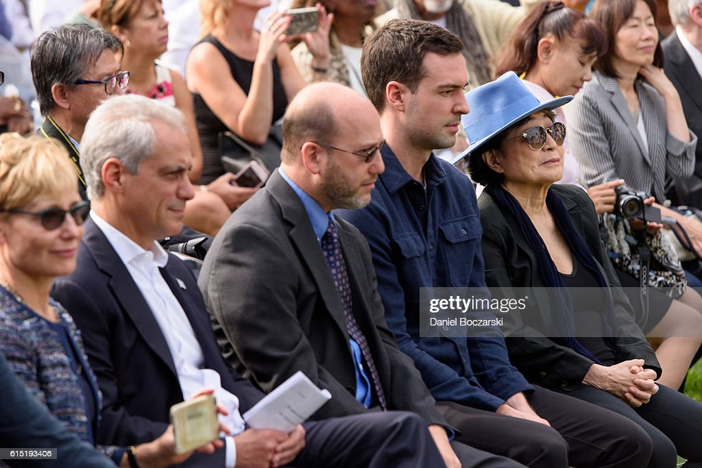 Yoko Ono and Chicago Mayor Rahm Emanuel attend the Project 120 Skylanding art installation unveiling at Jackson Park on October 17, 2016 in Chicago, Illinois.