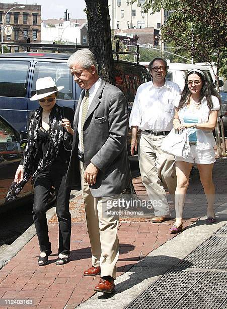 Yoko Ono and daughter Kyoko Chan Cox during Yoko Ono Sighting Leaving Da Silvano Restaurant July 29 2006 at Da Silvano Resturant in West Village New...