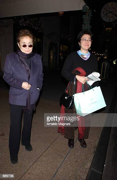 Yoko Ono and her daughter Kyoko Ono leave a restaurant after dinner January 3 2002 in New York City