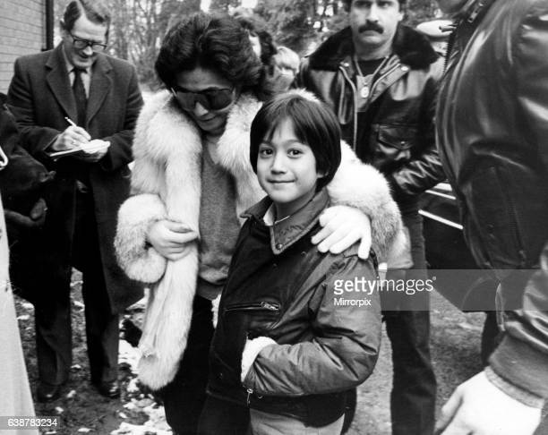 Yoko Ono and her son Sean Lennon visit Strawberry Field in Liverpool 24th January 1984