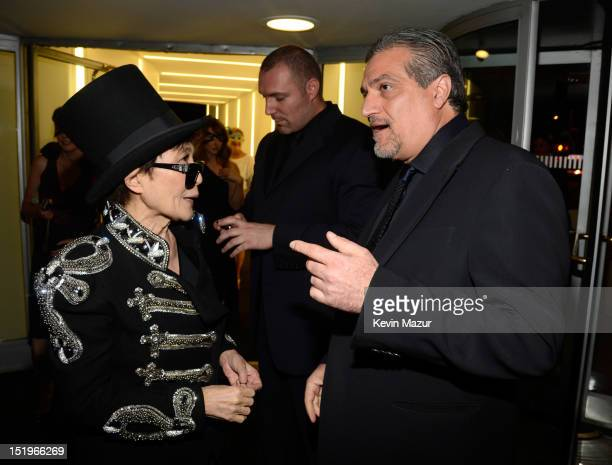 Yoko Ono and Joe Germanotta attend the Lady Gaga Fame Eau de Parfum Launch Event at the Guggenheim Museum on September 13 2012 in New York City