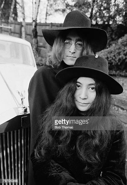 Yoko Ono and John Lennon at their home in England December 1968