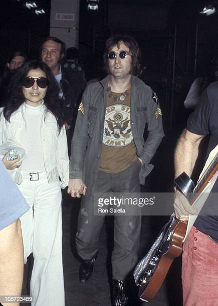 Yoko Ono and John Lennon during Yoko Ono's 'One to One' Concert August 30 1972 at Madison Square Garden in New York City New York United States