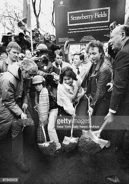 Yoko Ono and John Lennon's sons Sean and Julien join Parks Commissioner Henry Stern and Mayor Koch in the ground breaking ceremonies for Strawberry...