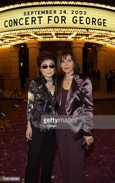 Yoko Ono and Olivia Harrison at the premiere of 'Concert for George' a new documentary film celebrating the music of George Harrison through...
