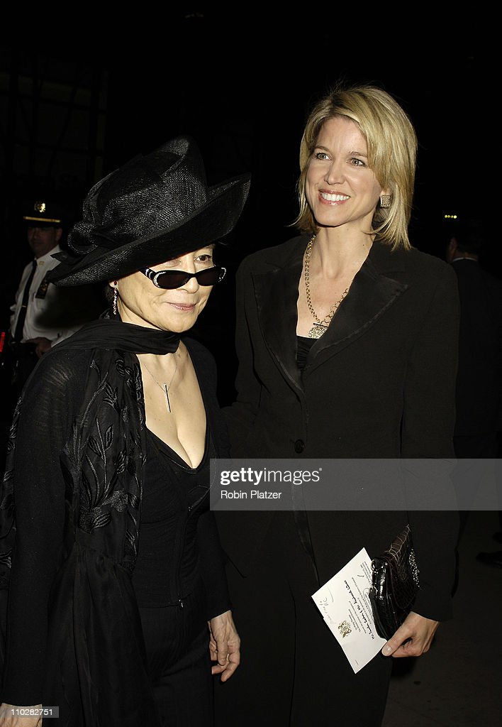 Yoko Ono and Paula Zahn during Cocktail Party for TRH The Prince of Wales and The Duchess of Cornwall at the Museum of Modern Art - November 1, 2005 at Museum of Modern Art in New York City, New York, United States.