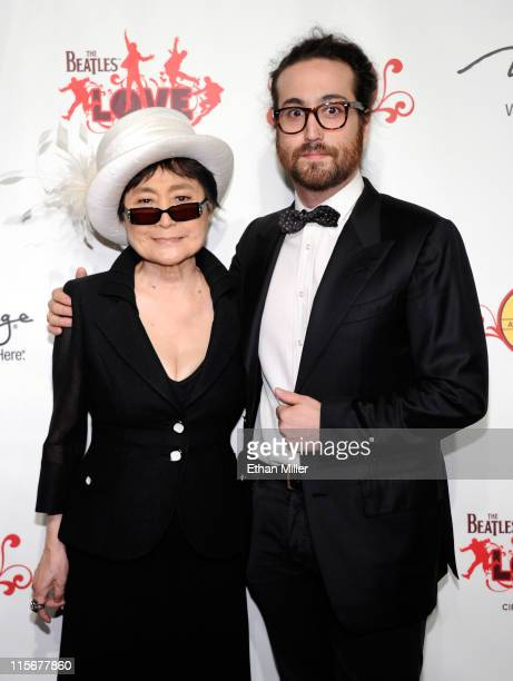"""Yoko Ono and recording artist Sean Lennon attend the fifth anniversary celebration of """"The Beatles LOVE by Cirque du Soleil"""" show at The Mirage Hotel..."""