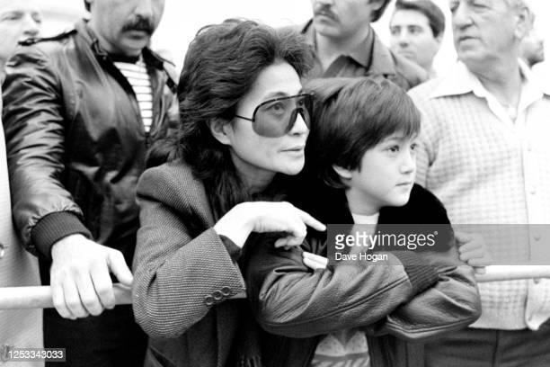 Yoko Ono and Sean Lennon at Buckingham Palace, London, 1983