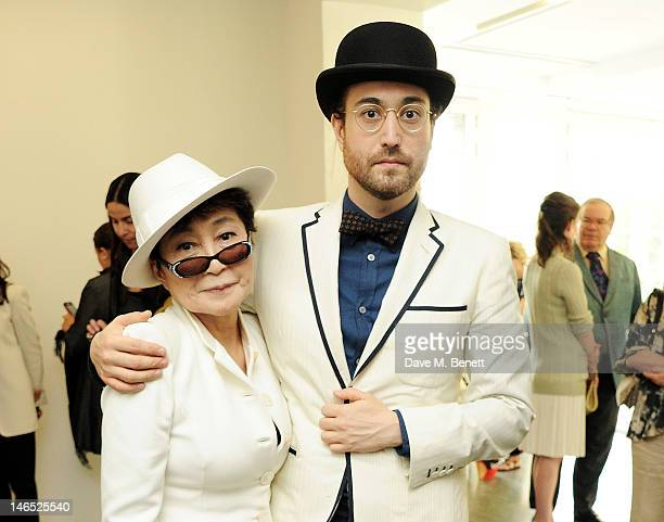 Yoko Ono and Sean Lennon attend a Council Reception launching Yoko Ono's exhibition 'To The Light' at The Serpentine Gallery on June 18, 2012 in...