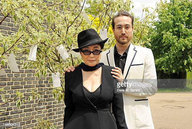 Yoko Ono and Sean Lennon pose during a photocall launching Yoko Ono's exhibition 'To The Light' at The Serpentine Gallery on June 18, 2012 in London,...