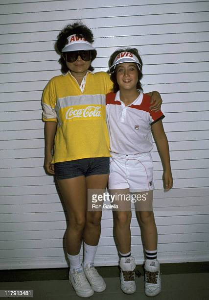 Yoko Ono And Son Sean Lennon during US Open September 8 1985 at Flushing Meadows in Queens New York United States