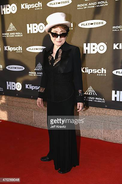 Yoko Ono attends the 30th Annual Rock And Roll Hall Of Fame Induction Ceremony at Public Hall on April 18, 2015 in Cleveland, Ohio.