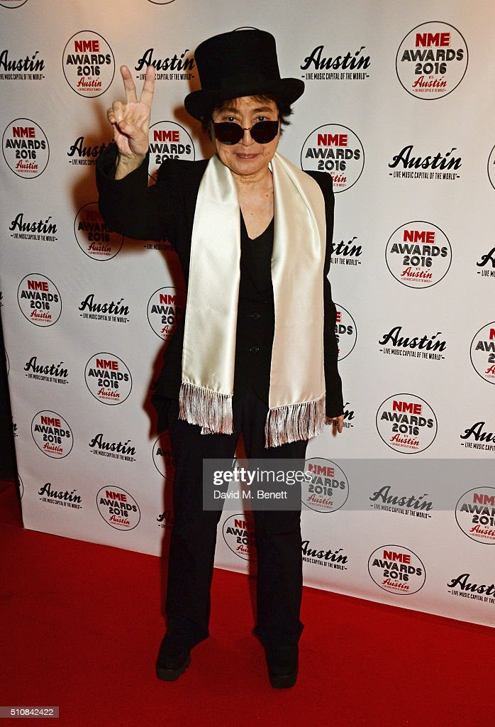 Yoko Ono attends the NME Awards with Austin, Texas, at the O2 Academy Brixton on February 17, 2016 in London, England.